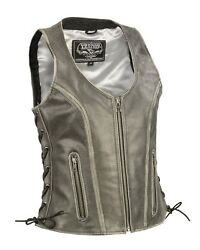 Milwaukee Leather Women's Distressed Grey Open Neck Vest W/ Side Laces Mll4531
