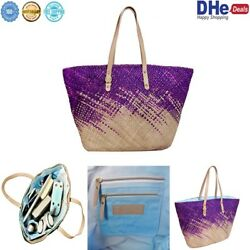 Straw Beach Tote Bag Waterproof with Zipper Pockets and Holder for Women PERFECT