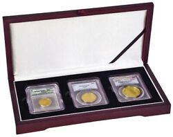 3 Certified Coin Slab Box Mahogany Wood Style Pcgs Ncg Igc Display Case Best New