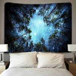 Galaxy Tapestry Wall Hanging Forest Starry Sky Tapestry Psychedelic Tapestries