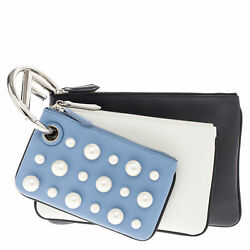 Fendi Women's Triplette Clutch Blue