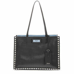 Prada Women's Etiquette Studded Tote Bag Black
