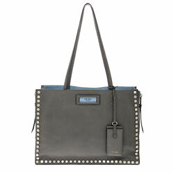Prada Women's Etiquette Studded Tote Bag Grey