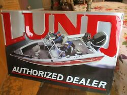 Lund Authorized Dealer Tin Sign Fishing Boat Outboard Mercury Motor Excellent