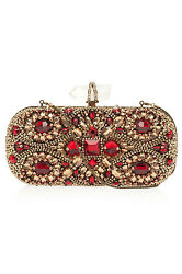 $3.8K Marchesa ruby red and gold Lily Embroidered Clutch evening Bag