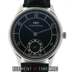 IWC Portuguese Vintage Hand Wound Steel 44mm Black Dial IW5445-01 NOS