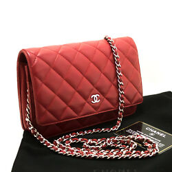 CHANEL Authentic Lambskin Wallet On Chain WOC Red Shoulder Bag Crossbody k78