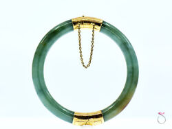 Vintage Green Jadeite Jade Bangle With Engraved 14k Yellow Gold Hinge And Clasp.