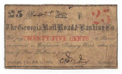 1863 The Georgia Railroad And Banking Co., Augusta - 25 Cent Note No.24xx