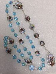 ANGEL MICHAEL CHAPLET rosary blue crystals made in Poland Italian parts 16quot; $17.99