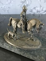 Vintage Horse Hunting Rider And Dog Pewter Figure, Paper Weight, 11cm Marble