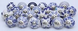 White And Blue Ceramic Knobs Handpainted Kitchen Cabinet Drawer Puller Pulls