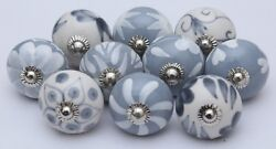 Grey And White Ceramic Knobs Handpainted Kitchen Cabinet Drawer Pulls Knobs