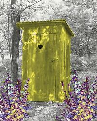 Yellow And Gray Home Decor Wall Art Photo Print Vintage Outhouse Bathroom Picture