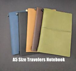 A5 Size Travelers Notebook Hobonichi Cover Genuine Leather Refillable Diary $34.00
