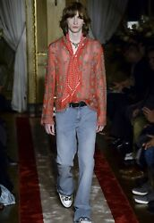 Authentic Roberto Cavalli Runway Silk Sheer Embellished Embroidered Red Shirt Xl