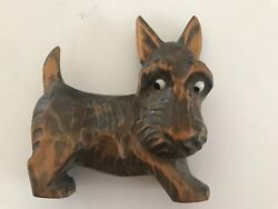 Vintage Hand Carved Wood Scottish Terrier Scottie Dog Lots of Personality