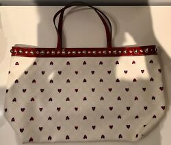 Authentic Gucci hearts tote monogram GG bag cream red blue gold rare