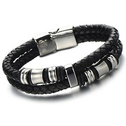 Black Braided Leather Bracelet Double-row Bangle Wristband With Steel Ornaments