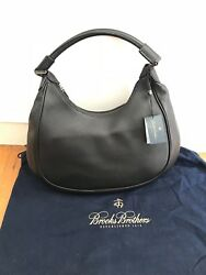 Brooks Brothers Black Leather Hobo Shoulder Handbag Great condition NEVER used