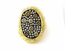14k Yellow Gold Womenand039s Natural Champagne 1.07 Ctw And Si White Diamonds Ring 6.5