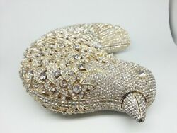 925 Sterling Silver Cz Beautiful White Round Bird new Style Purse clutches party
