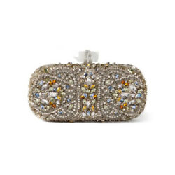 $3.6K Marchesa silver Lily Embroidered Clutch evening Bag