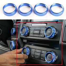 Blue For Ford F150 2016+ Air Conditioner & Audio Switch Decor Ring Cover Trim