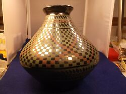1 Of 2, Excellent Vtg Mexican Pottery 'bulb' Vase Venee Reyes Hand Painted