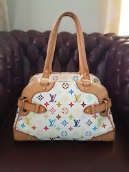 Authentic Louis Vuitton White Monogram Multicolor Claudia Bag