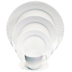 White Half Lace Fluted By Royal Copenhagen 5 Piece Place Setting New Never Used