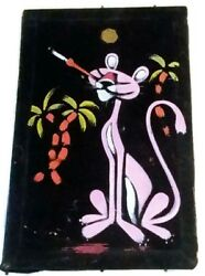 Small Vintage 1960's Pink Panther Oil Painting on Black Velvet