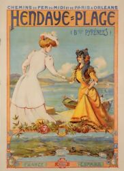 Original Vintage Poster Advertising Hendaye-plage France-espana By Nyk 1920and039s