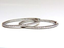 2.50ct Natural Round Brilliant In/out Diamond Hoop Earrings 14kt G/vs Elongated