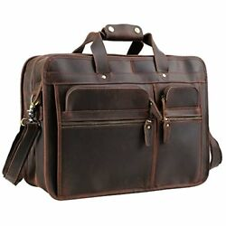 Texbo Men's Solid Top Cowhide Leather Messenger Bag Large Briefcase Fit 17 Inch