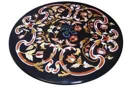 3and039x3and039 Black Marble Dining Side Table Top Pietra Dura Handmade Art Marquetry Gift