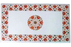 4and039x2and039 Marble Center Dining Table Top Rare Carnelian Floral Marquetry Inlay Work