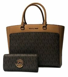 MICHAEL Michael Kors Emmy Large Double Handle Tote bundled with Flap Wallet