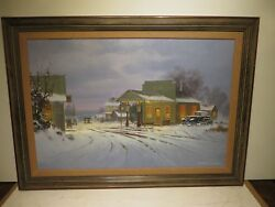 24x36 Org. 1986 Oil Painting By George Kovach Of The Old Pump House Station