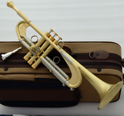 New Pro Germany Design Heavy Trumpet Brushed Brass Bb Reverse Leadpipe WCase