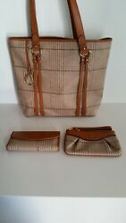 Polo Plaid Tote W/ Matching Wallet And Wristlet Set