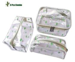 3 Pack Clear Cosmetic Bag Waterproof Travel Toiletry Bags Case Set with...