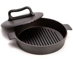 9.4 Cast Iron Skillet For Chicken Tabaka With Heavy Press Lid Grill Pan