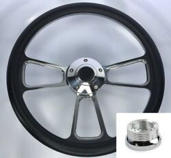 14 Polished Steering Wheel Black Wrap Billet Horn Button And Adapter For Chevy