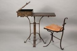Circa 1920and039s Exceptional Small Iron And Copper Side Table With Chair 11037