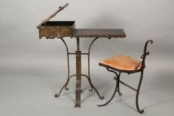 Circa 1920's Exceptional Small Iron And Copper Side Table With Chair 11037