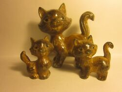 Trio Ceramic Cat Figurines Mother and Twins