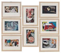 1958 Franklin Boggs Leather Tannery Series Of Prints Set Of 8