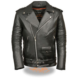 Milwaukee Leather Men's Tall Classic Side Lace Police M/c Jacket  Sh1011-tall
