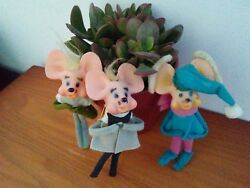 Vintage Lot Of Three Rubber - Felt Mice Christmas Ornaments Made In Japan